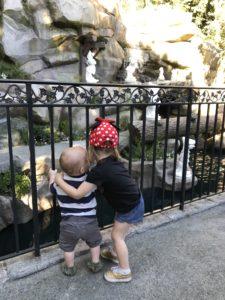 children hugging at Disneyland