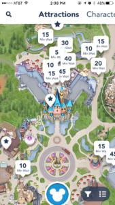 screenshot of Disneyland app