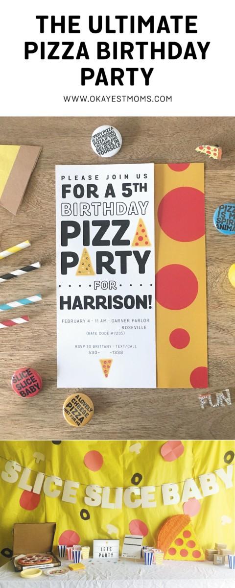 fifth birthday pizza party invitation