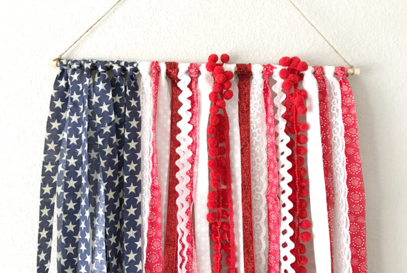 completed DIY wall hanging for Fourth of July