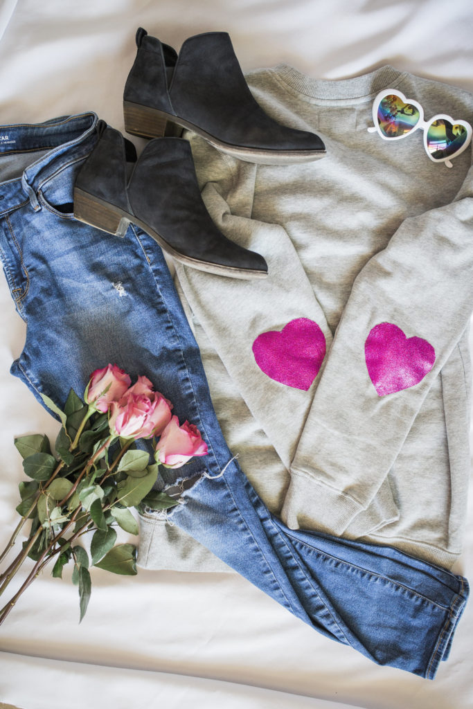 diy glitter heart elbow patch