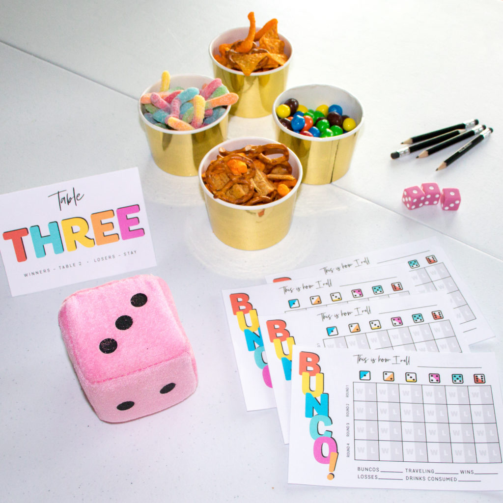Everything you need to play bunco! Score card, table card, dice, pencils and of course, snacks!