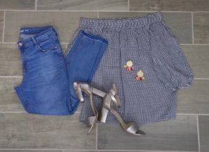 gingham off the shoulder top, raw hem denim, metallic heels and fun earrings