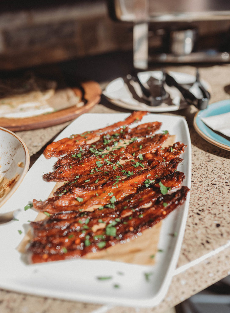 candied bacon at Lazy Dog Restuarant