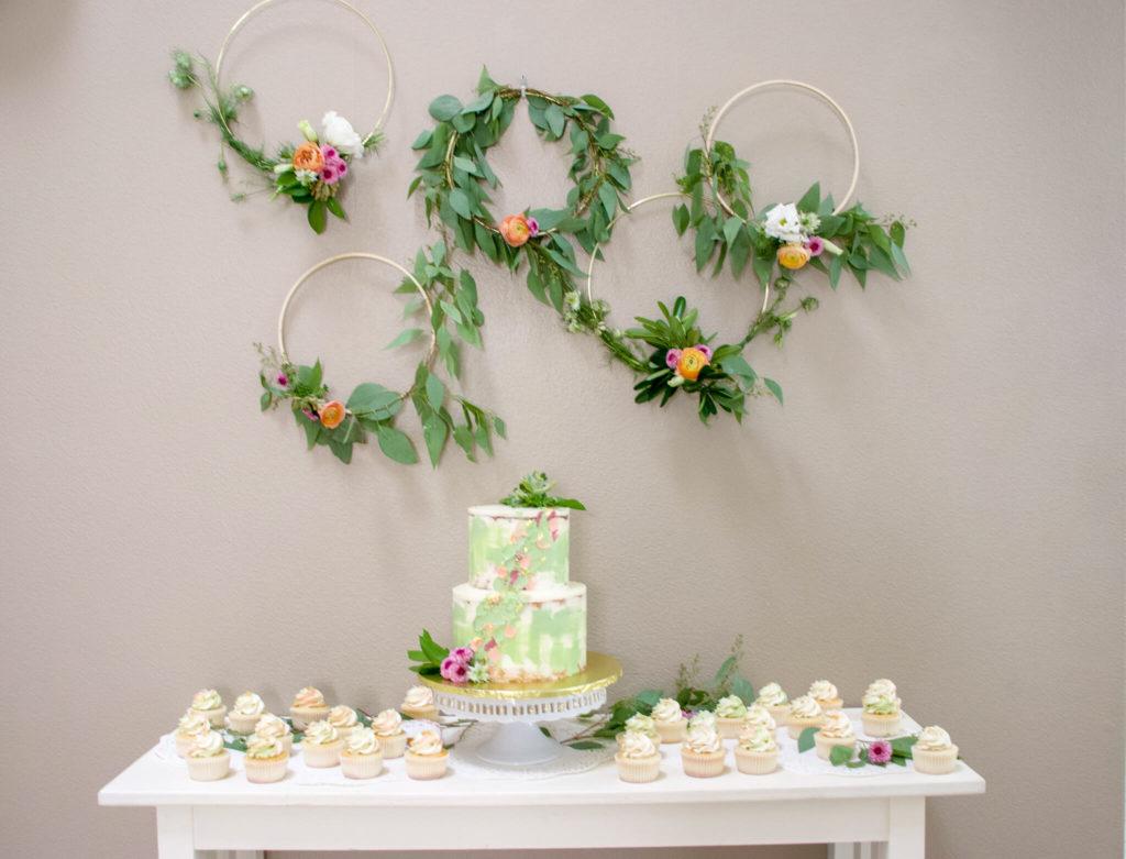 cake display at wedding shower