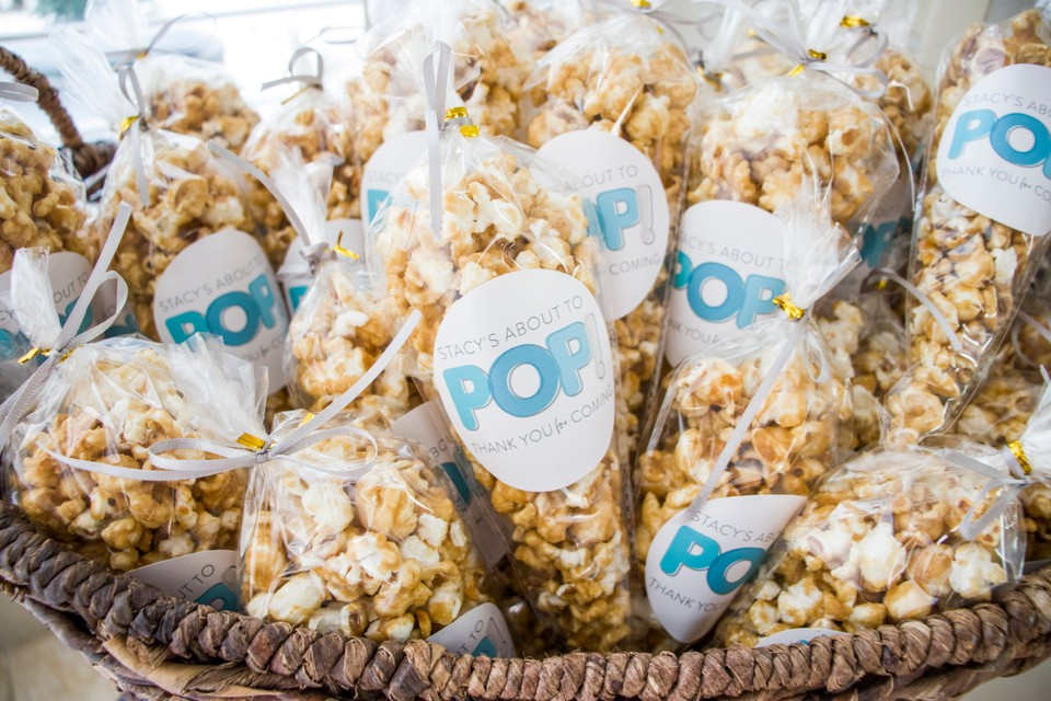 ready to pop popcorn baby shower favor