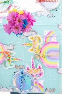 unicorn party table setting