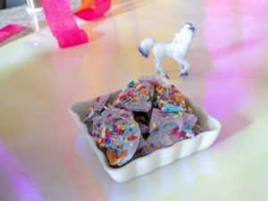 unicorn bark served at unicorn birthday party
