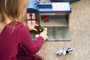 putting together the Playmobil Take Along Police Station