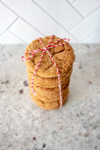 stack of freshly baked molasses cookies