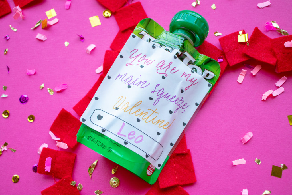 Printable valentine from Etsy shop OkayestParty for an applesauce pouch.