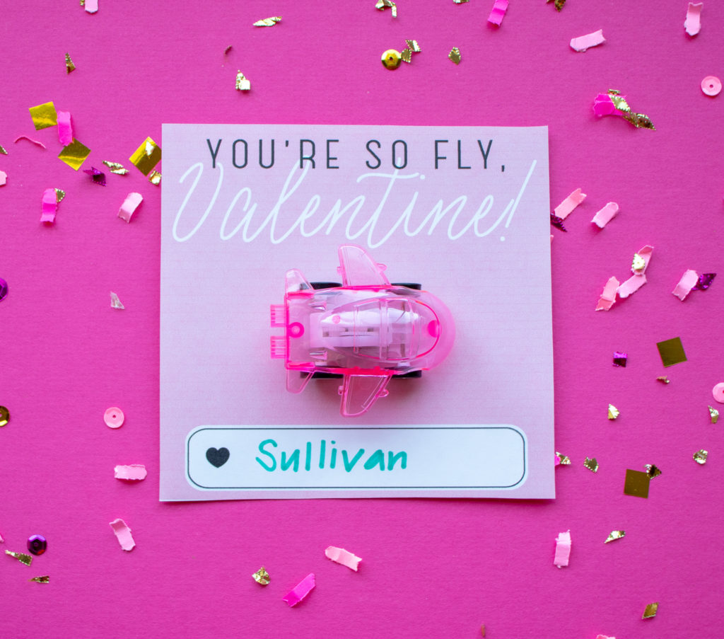 Printable valentine from the Etsy shop, OkayestParty with toy airplane