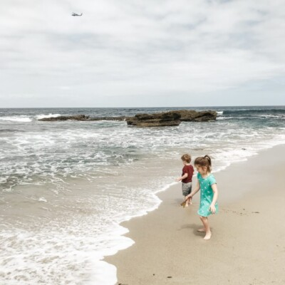 Children playing in the waves in La Jolla