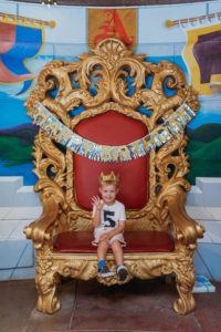 birthday boy on throne at Fairtytale Town