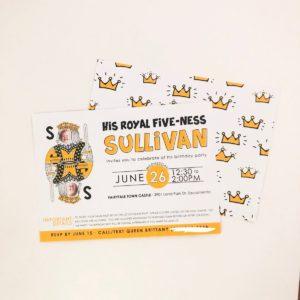 royal five-ness birthday invitation