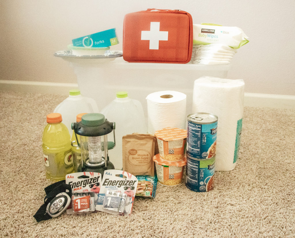 supplies to create an emergency kit for your family
