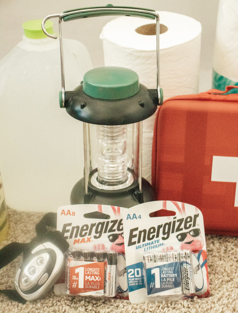 Energizer batteries in an emergency kit