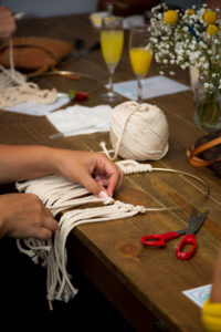 Macrame Craft at Brunch Party- Okayest Moms