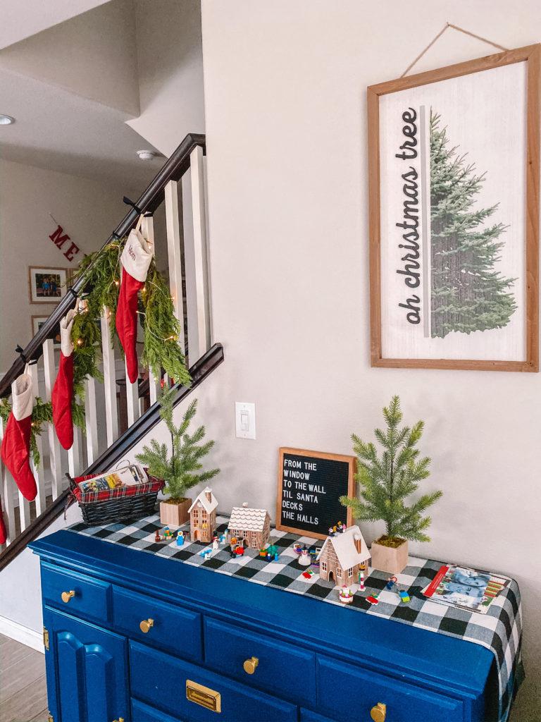 Christmas display and stockings