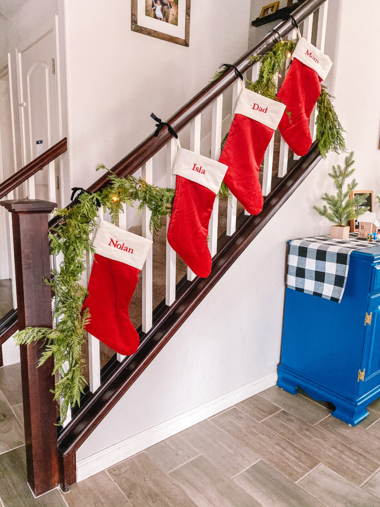 Stockings hanging on a bannister