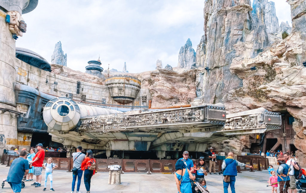 How We Got Boarding Passes for Rise of the Resistance in Disneyland // View of the Millennium Falcon // www.okayestmoms.com