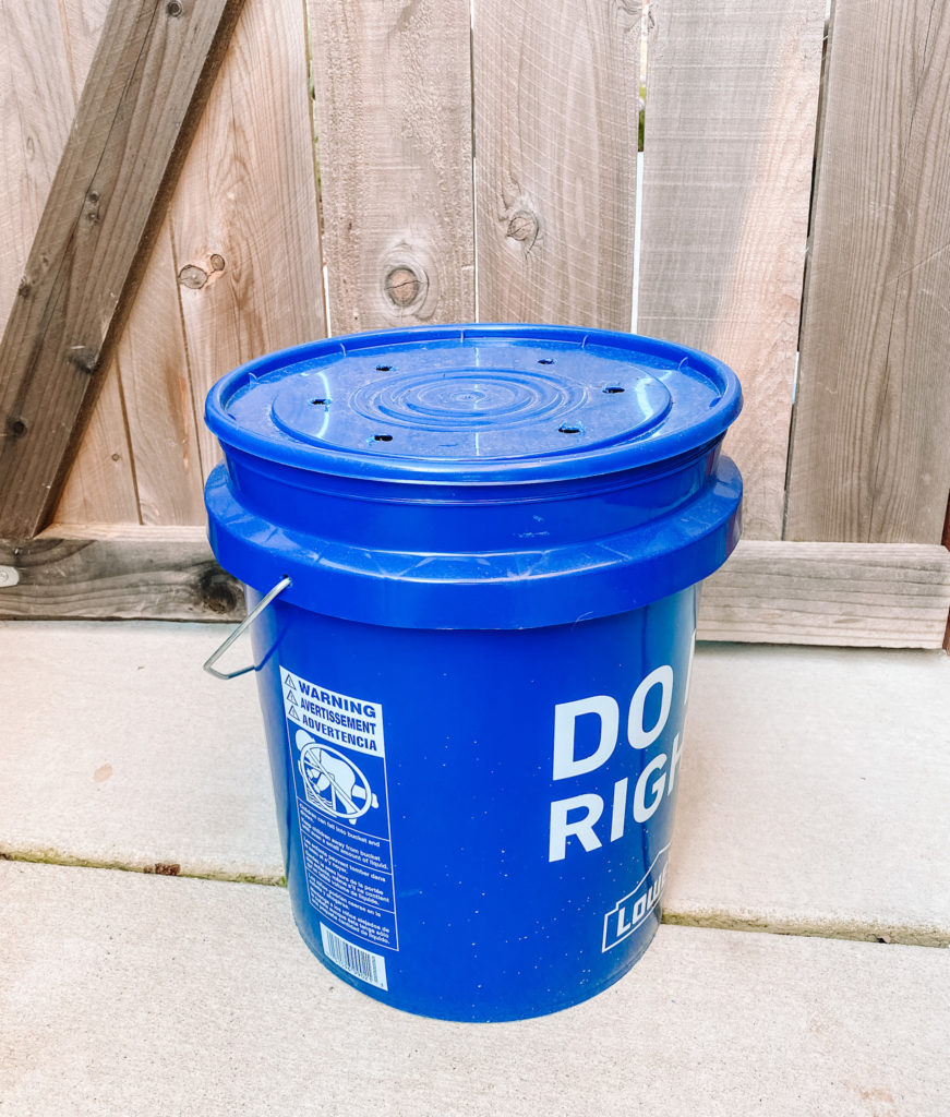 February Green Swaps // Small compost bin made from a Lowe's bucket // www.okayestmoms.com