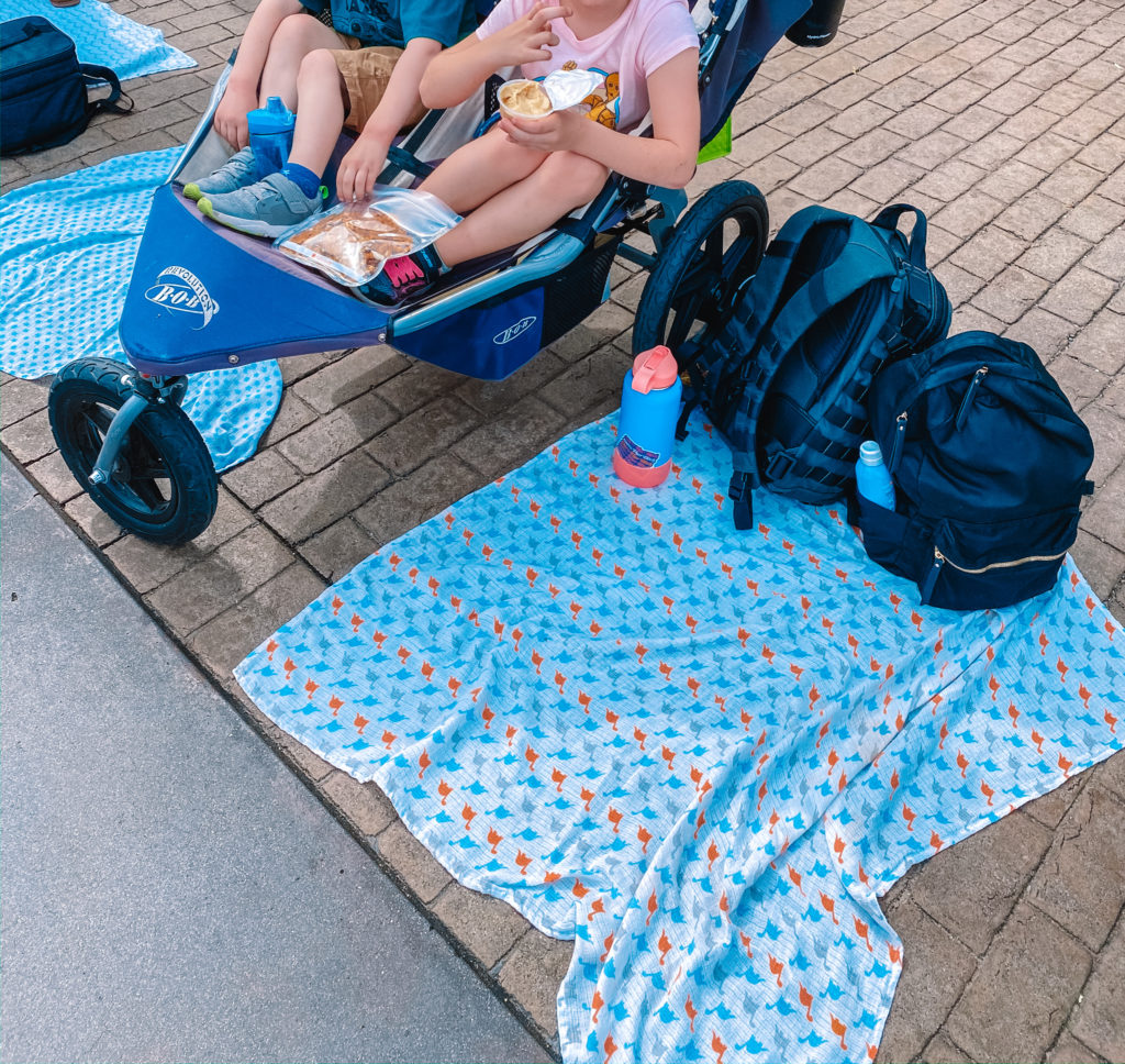 Use lightweight swaddle blankets to save your space along the parade route at Disneyland