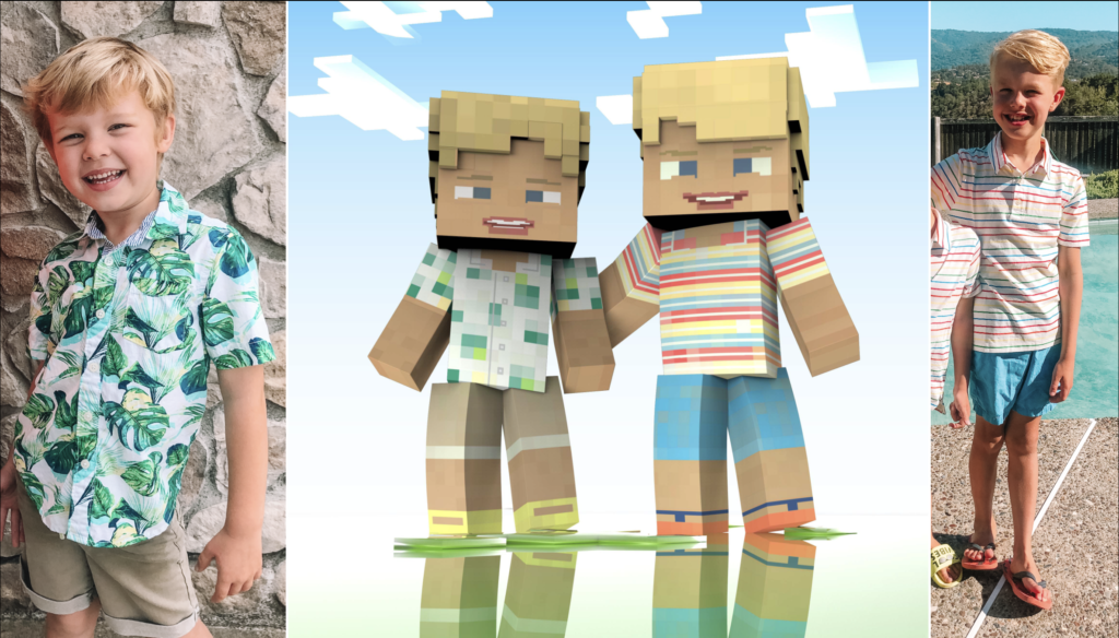 kids drawn as minecraft characters