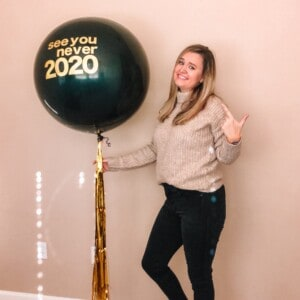 Brittany with big balloon