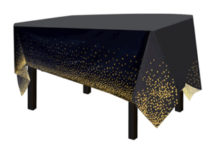 black table cover with gold specks