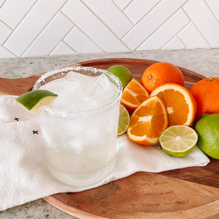 Tequila Soda on a tray with citrus