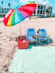 family beach day set up