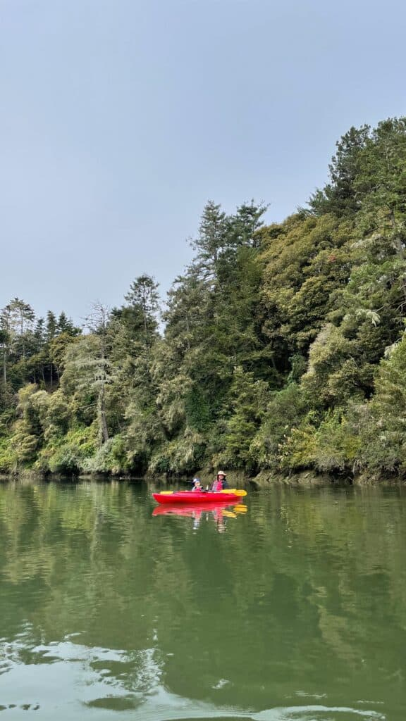 kayaking on the noyo river with family