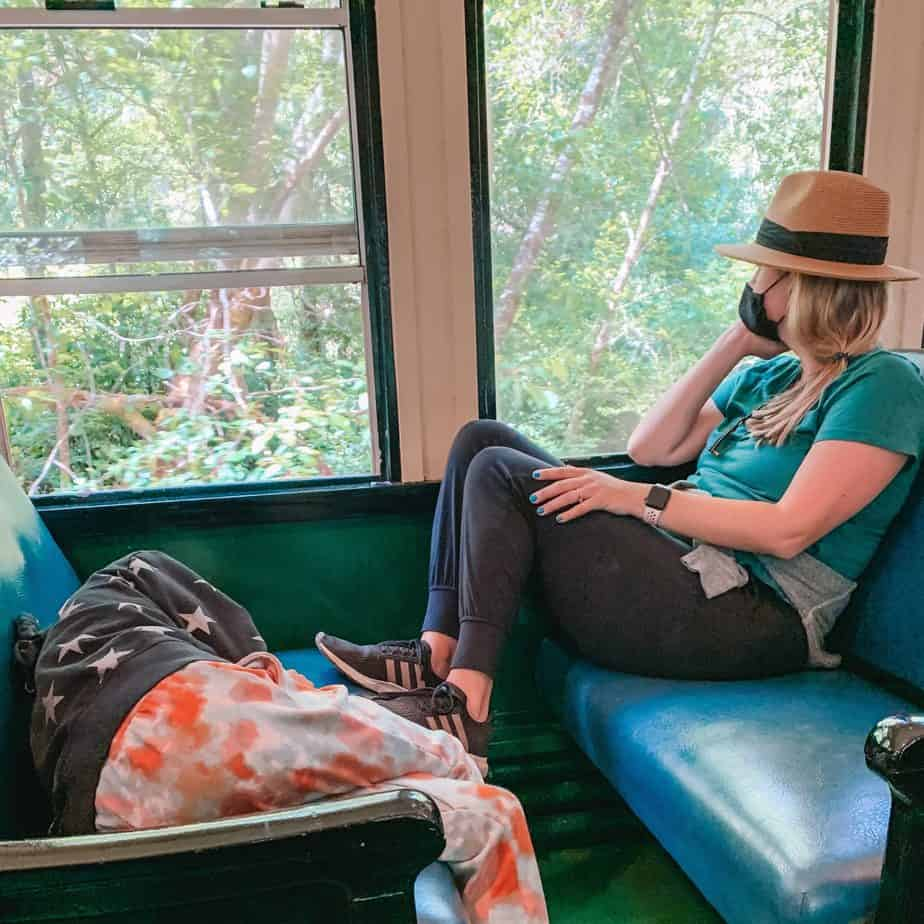 woman and kid on the skunk train