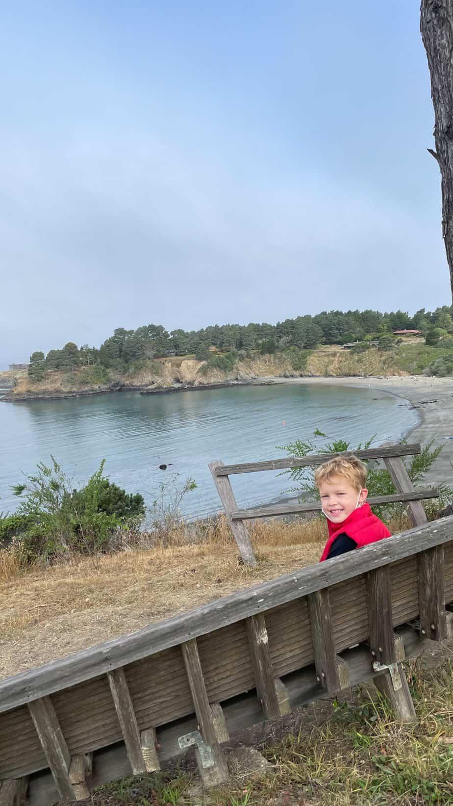 kid at little river inn overlooking van damme state beach