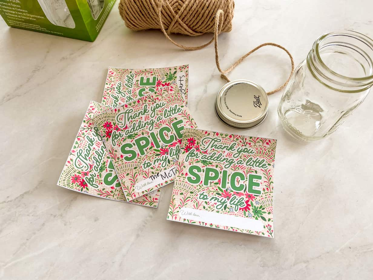 Supplies to make homemade taco seasoning DIY Christmas gifts