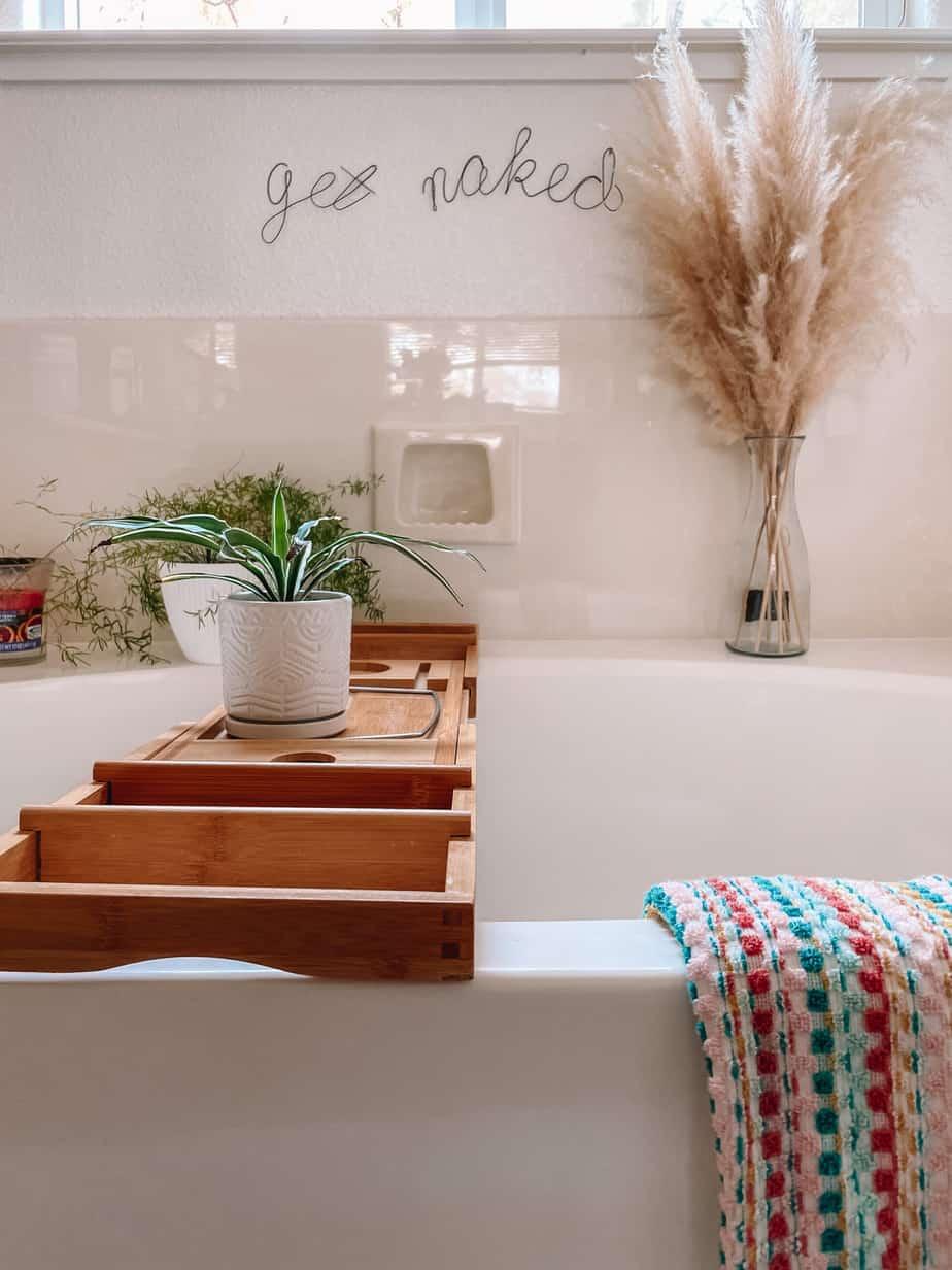 bathtub with tray
