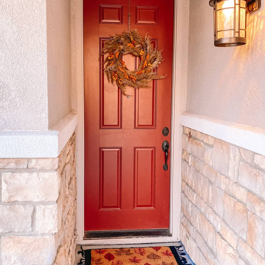fall wreath on a front door
