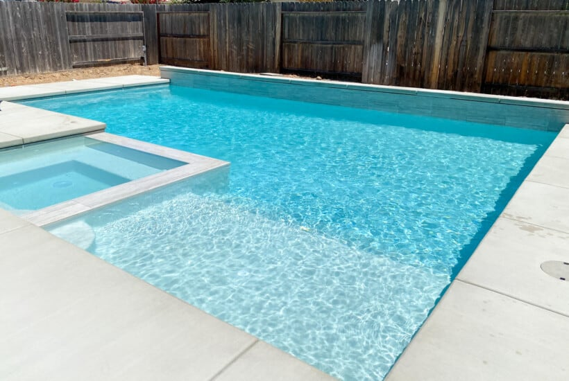 Rectangular Pool with Cabo Shelf and Spa