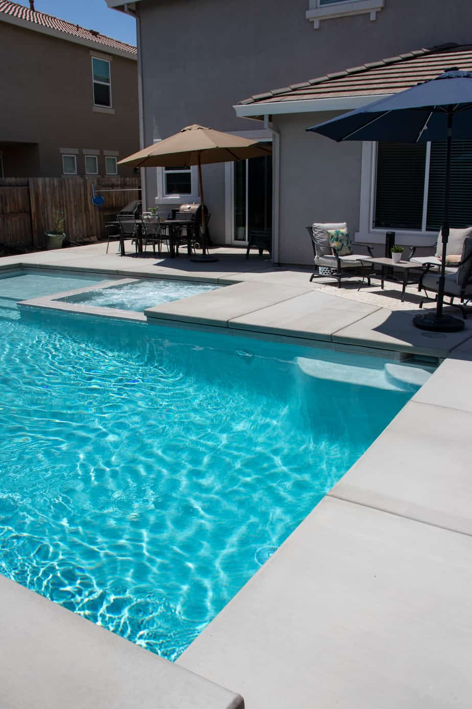 Deep end of modern swimming pool