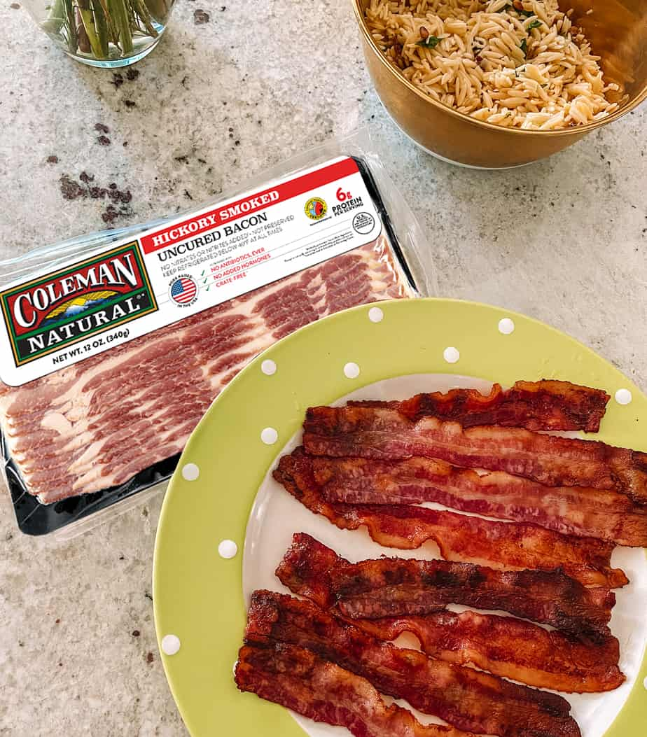 Plate of Coleman bacon at brunch that promises no antibiotics every