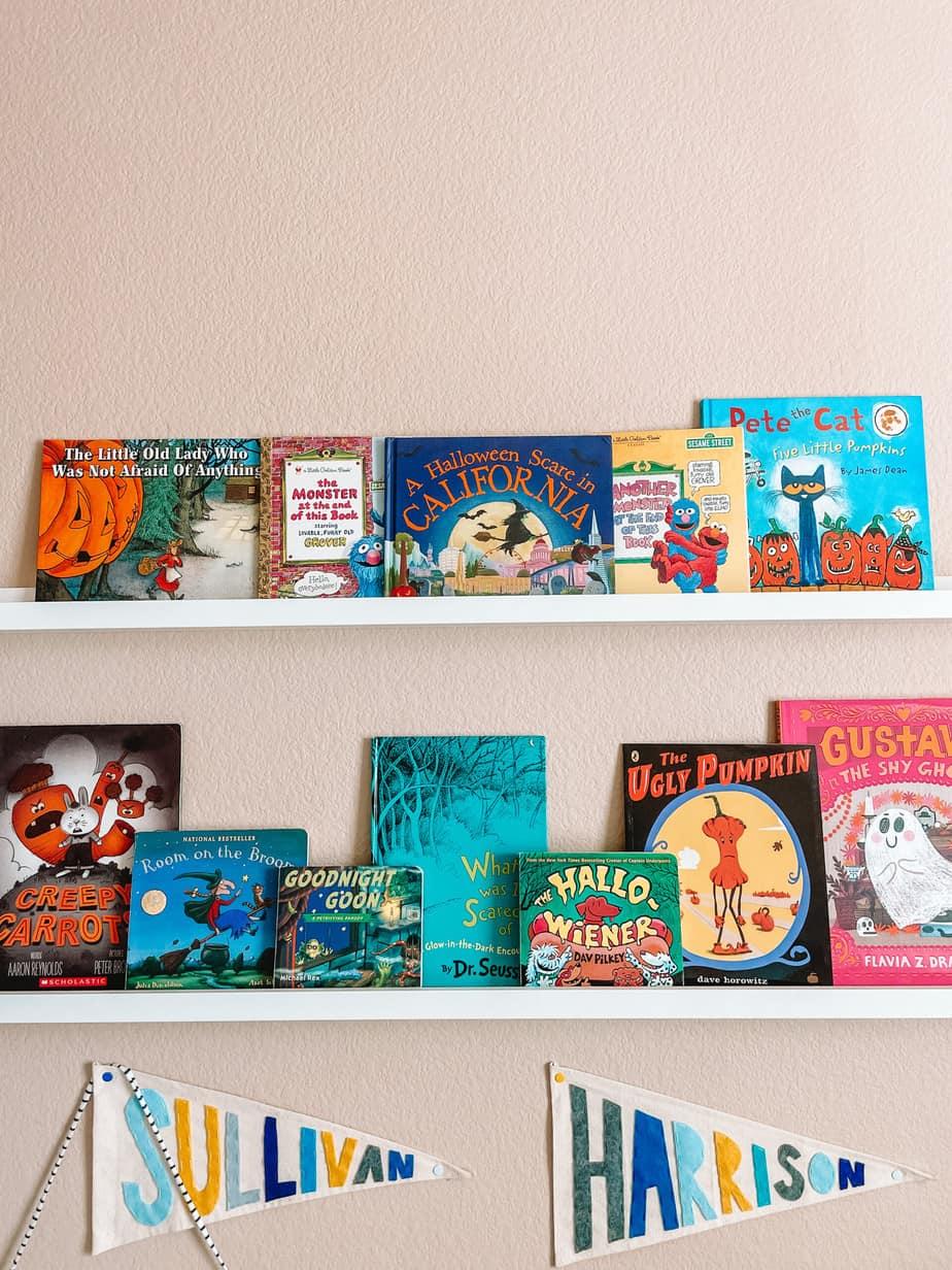 book shelf with Halloween books