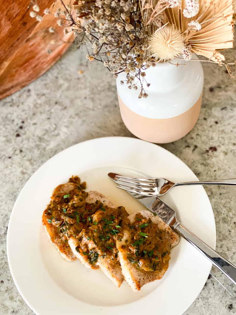 Coleman Natural pork chop with dijon herb sauce